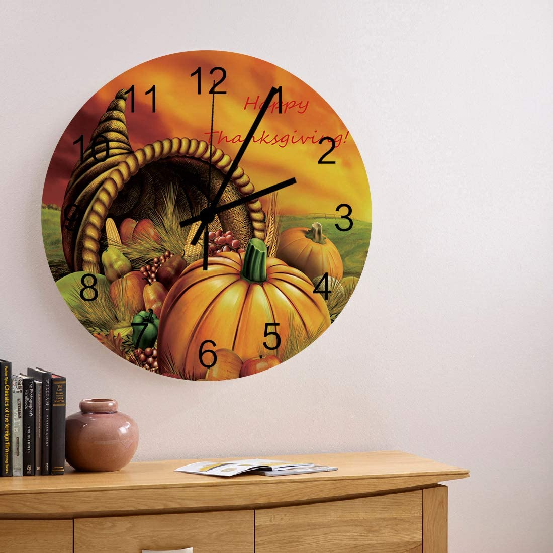 12 Inch Silent Non-Ticking Wall Clock Thanksgiving Theme with Foods Pattern Battery Operated Round Wooden Wall Clock Roman Numeral Clock Wall Decor Home Decor