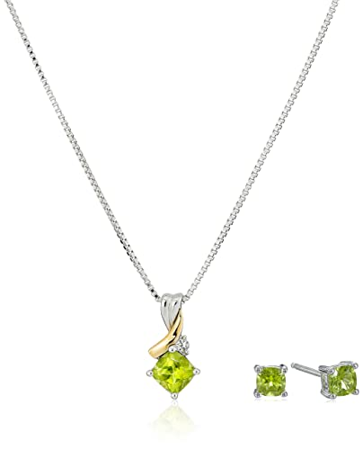 Amazon sterling silver and 14k gold peridot and white topaz sterling silver and 14k gold peridot and white topaz pendant necklace and earrings set 18quot aloadofball Choice Image
