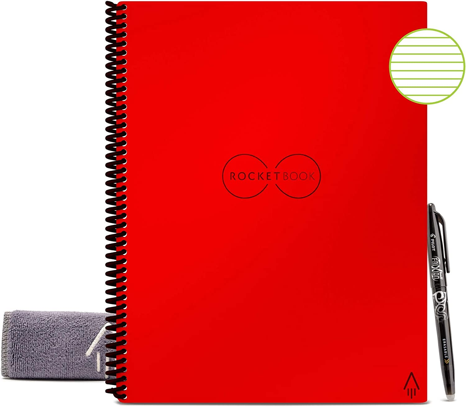 """Rocketbook Smart Reusable Notebook - Lined Eco-Friendly Notebook with 1 Pilot Frixion Pen & 1 Microfiber Cloth Included - Atomic Red Cover, Letter Size (8.5"""" x 11"""")"""