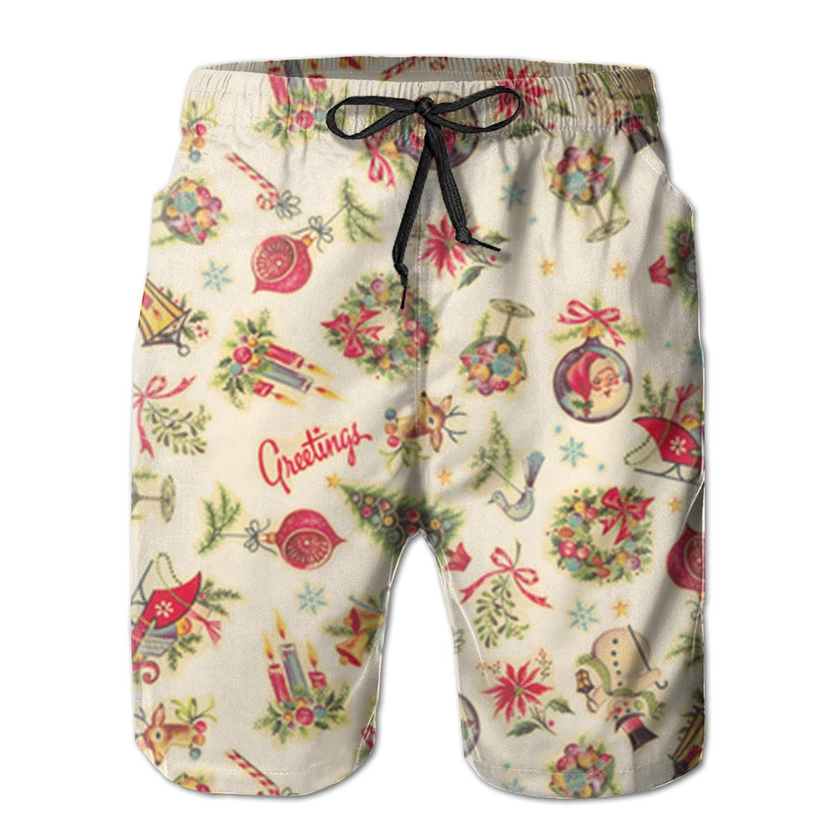 FASUWAVE Mens Swim Trunks Retro Christmas Decals Quick Dry Beach Board Shorts with Mesh Lining