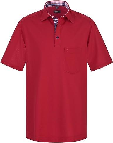 ETERNA Hombre Comfort Fit polo pique shirt crimson