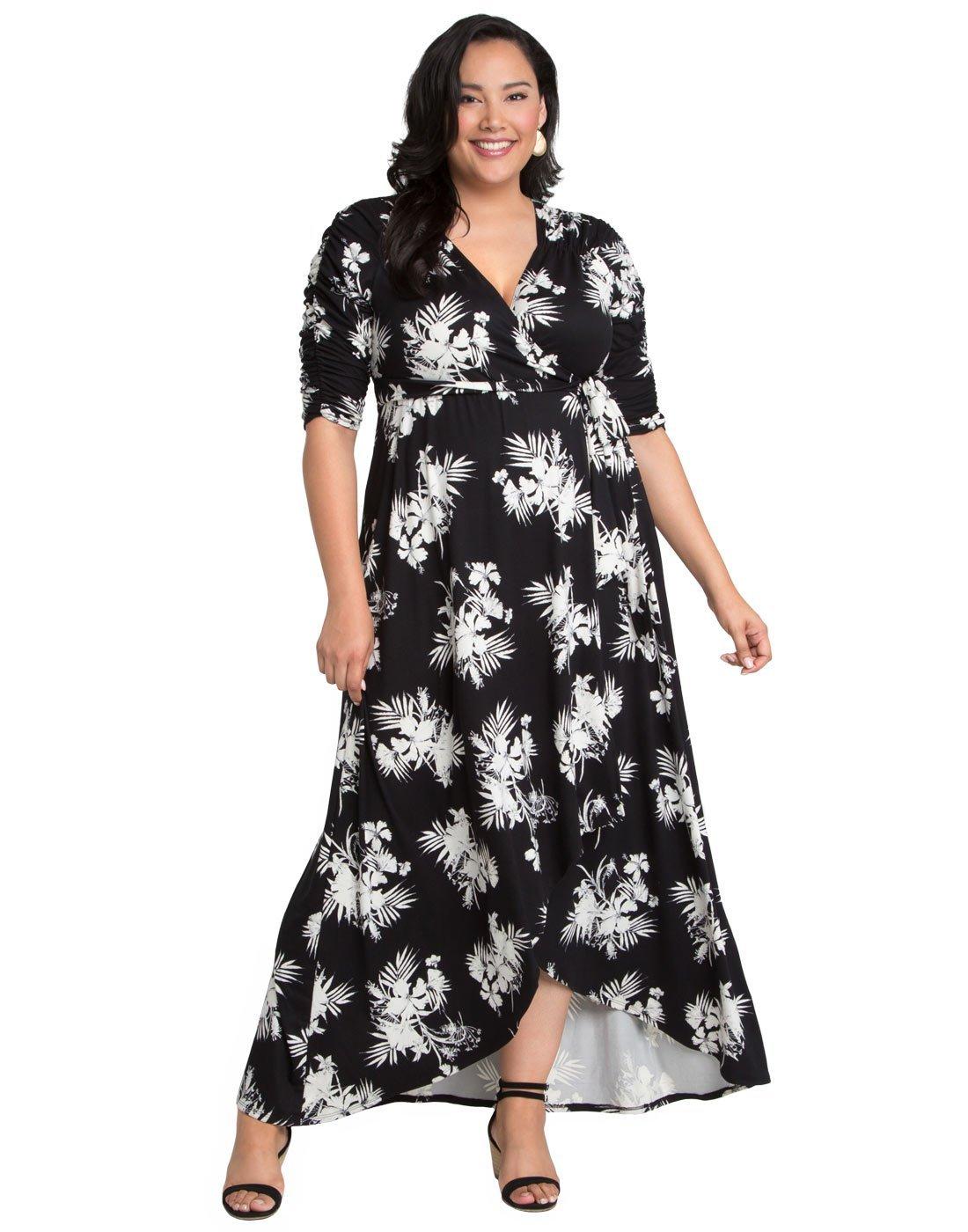 08b2ed5e924d1 Home Brands Kiyonna Dresses Kiyonna Women s Plus Size Meadow Dream Maxi  Dress 2X Tropical Noir.   
