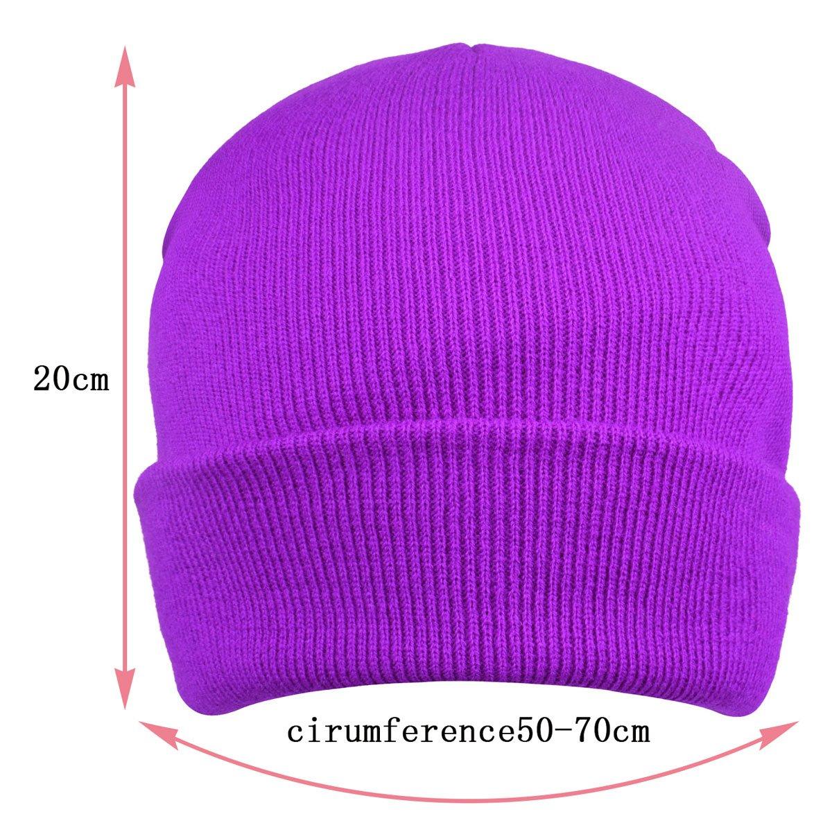 ae0f1698c27 Amazon.com  Unisex Cuffed Knit Skull Beanie toboggan Knit Hats and Caps ( Violet)  Clothing
