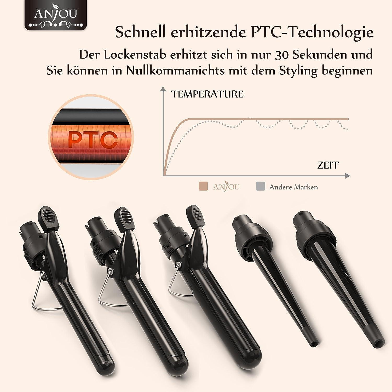 Rizador de pelo, Anjou 5 en 1 Multi función intercambiable rulos Kit (9 mm – 32 mm), Calentado rápido Peluquería rizador de pelo Negro: Amazon.es: Salud y ...