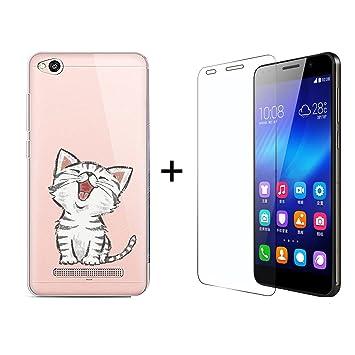 Funda Xiaomi Redmi 4A Gato Suave Transparente TPU Silicona Anti-rasguños Protector Trasero Carcasa para Xiaomi Redmi 4A con Un Protector de Cristal ...