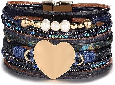 bracelet cuir multi rang