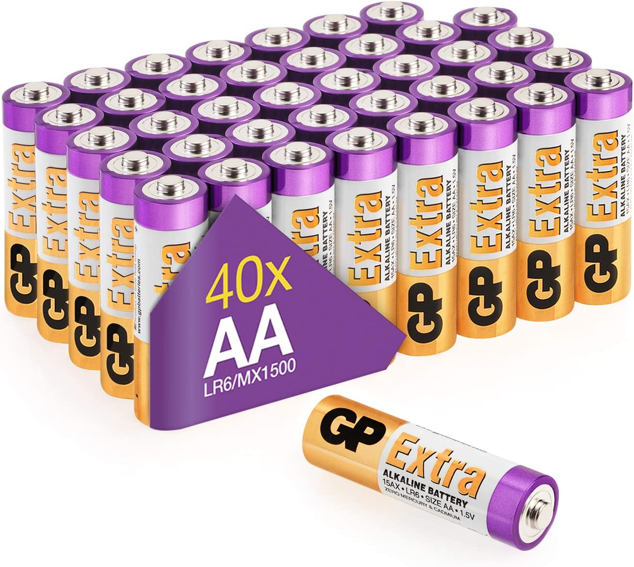 GP - Pack de 40 Pilas AA Alcalinas | Capacidad y duración excepcional | 1,5V LR06 - Mignon - MN1500-15A - AM3