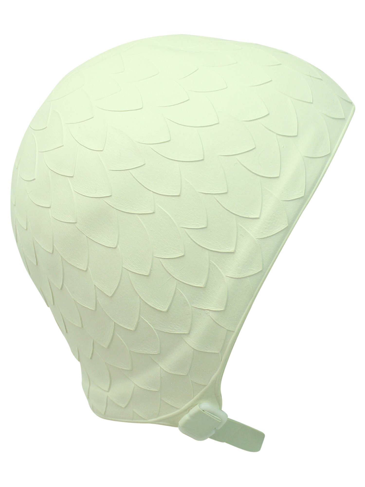 Leaf Embossed White Latex Swim Cap With Chin Strap