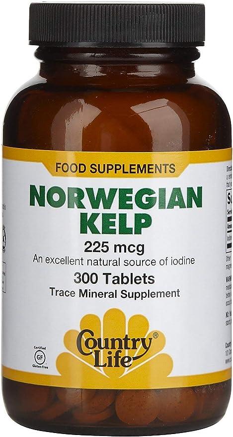 Country Life Norwegian Kelp 225 mcg, 300-Count