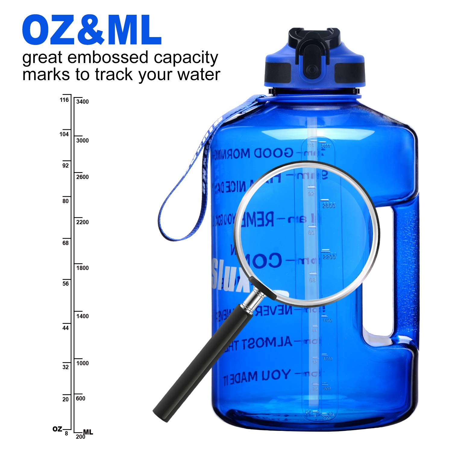 SLUXKE 2.2L Half Gallon Water Bottle with Pop Up Straw and Motivational Time Marker,Wide Mouth,Locking Flip-Flop Lid,One Click Open,BPA Free Sports Water Jug,74oz Big Sports Bottle with Handle