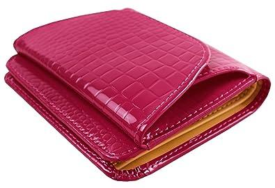 24314e809442 Amazon | 本革 3色 クロコダイル調 ボックス型 小銭入れ付き 二つ折り財布 革のおさいふ 高級な作り 短財布 カードケース 札入れ  コンパクト 軽量 (ピンク) | 小銭入れ