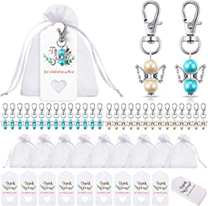 90 Pieces Angel Design Keychain Favors Set Include Angel Pearl Keychains White Organza Gift Bags and Thank You Tags for Baby Shower Wedding Favors Birthday Bridal Shower Gifts