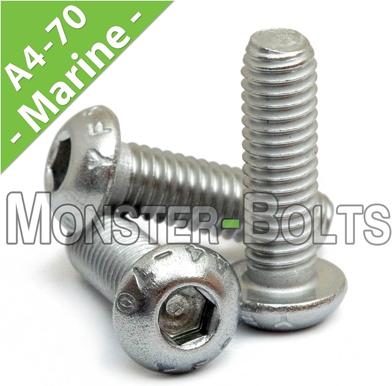 M5 X 6 Mm Métrico A2 Acero Inoxidable Pernos Tornillo de cabeza de botón de zócalo DIN7380 Paquete De 20