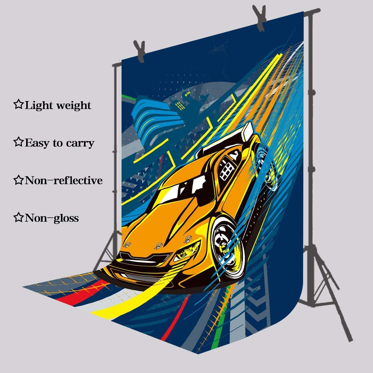 8x10ft Cartoon Racing Car Backdrop Photo Background Photography Event Props LYFU288