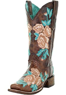 ebbf31dbdad Amazon.com | CORRAL Women's Turquoise Orange Floral Embroidered Boot ...