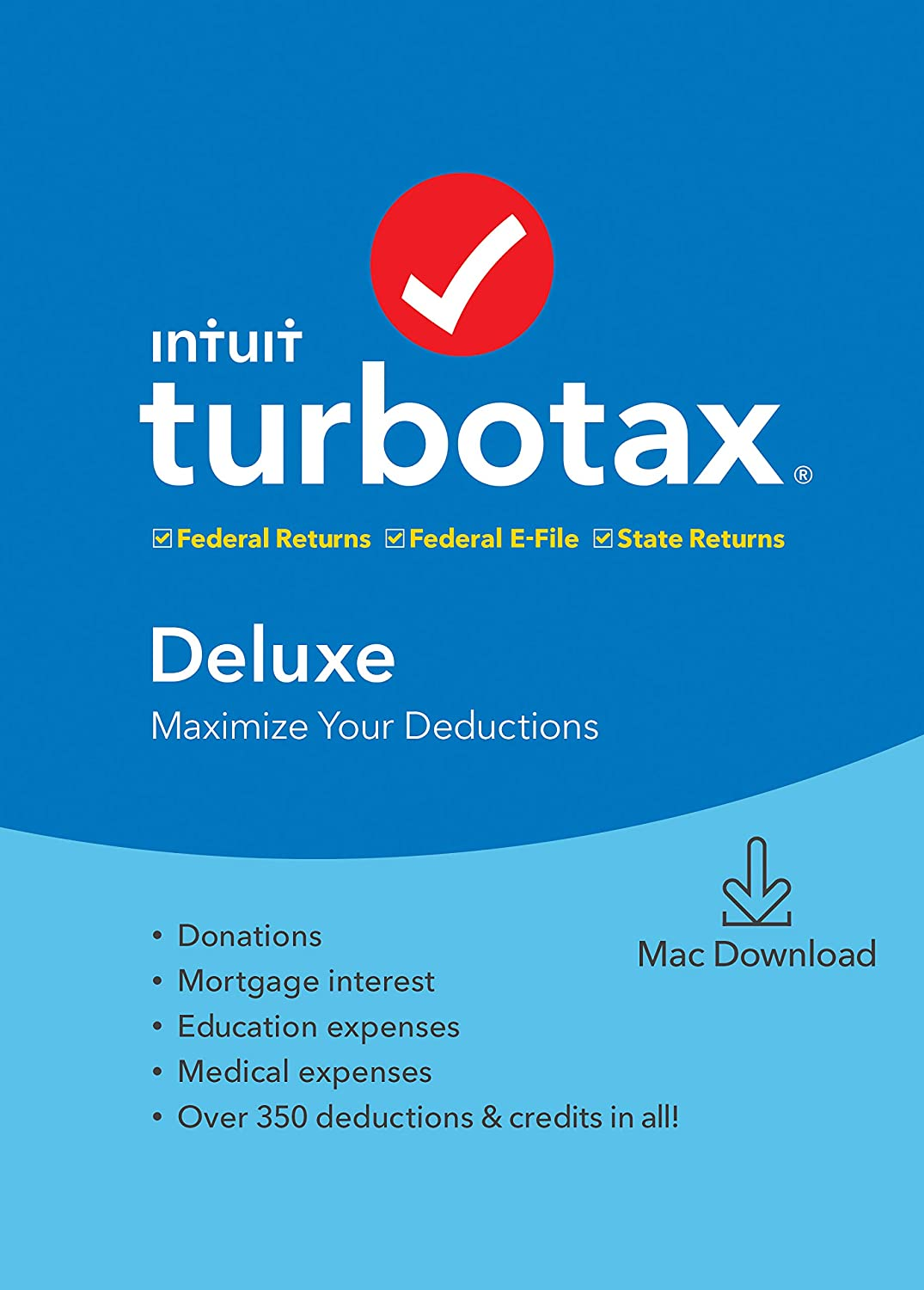 TurboTax Tax Software Deluxe + State 2019 [Amazon Exclusive] [Mac Download]