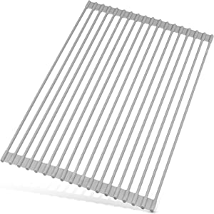 Large Multipurpose Roll Up Sink Drying Rack & Trivet - Heavy Duty, Silicone-Coated Stainless Steel Roll Up Rack, Rolls Out Over any Sink or Counter - Versatile Roll Up Dish Drying Rack - by Zulay