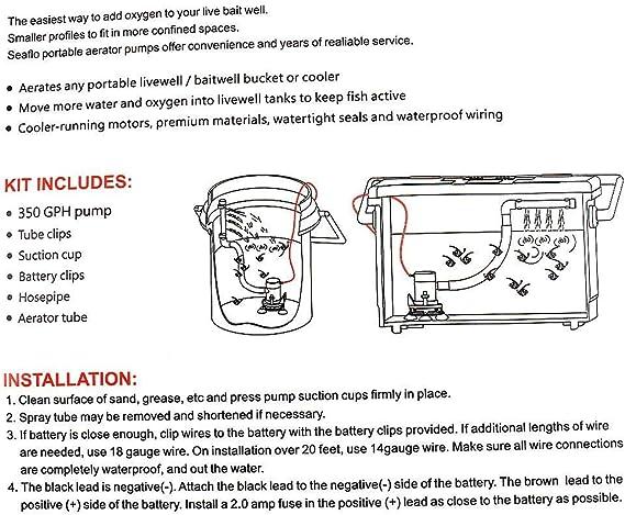 Seaflo Pour bassin dembarcation Pompe d/'oxyg/énation immerg/ée pour vivier avec connecteur /à angle droit 1324/l//h 12/V