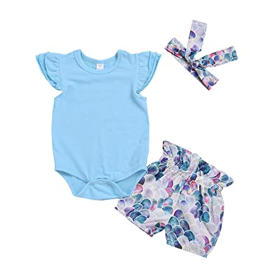 56a349002d985 MAMOWEAR Baby Girls Mermaid Outfits Ruffles Sleeve Romper+Short  Pants,Headband Clothes Set