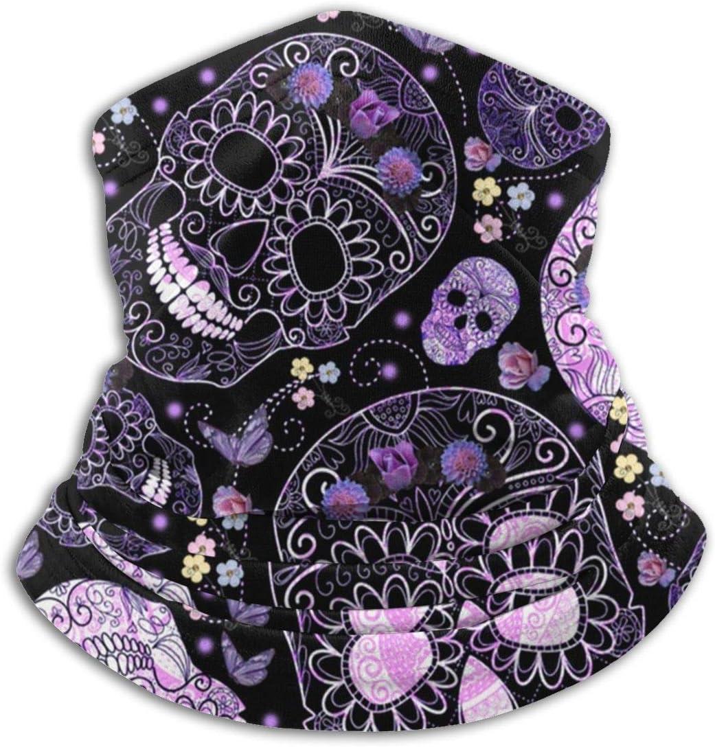 Kenice Envoltura De La Cabeza,Calentador De Cuello De Invierno,Cubierta Facial,Mascarilla para El Cuello Bandana Shield For Half Face Rave Mask Hombres Mujeres Sugar Skulls Purple Black Floral Prints