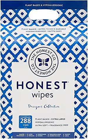 The Honest Company Designer Baby Wipes   Blue Ikat   Over 99 Percent Water   Pure & Gentle   Plant-Based   Fragrance Free   Extra Thick & Durable Wet Wipes   288 Count