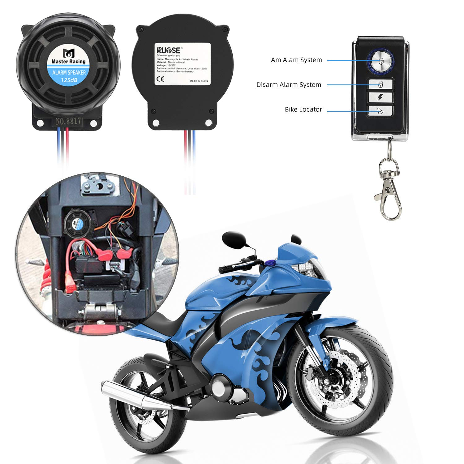 Rupse Wireless Alarm System Motorcycle Bicycle Bike Anti Theft Security Burglar Double Remote Control Warner Horn Adjustable Sensitivity