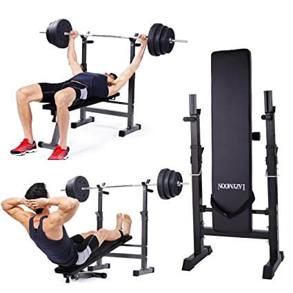 Jaxpety Adjustable Folding Weight Lifting Flat Incline Bench Fitness Workout Bench For Full Body Exercise New Black