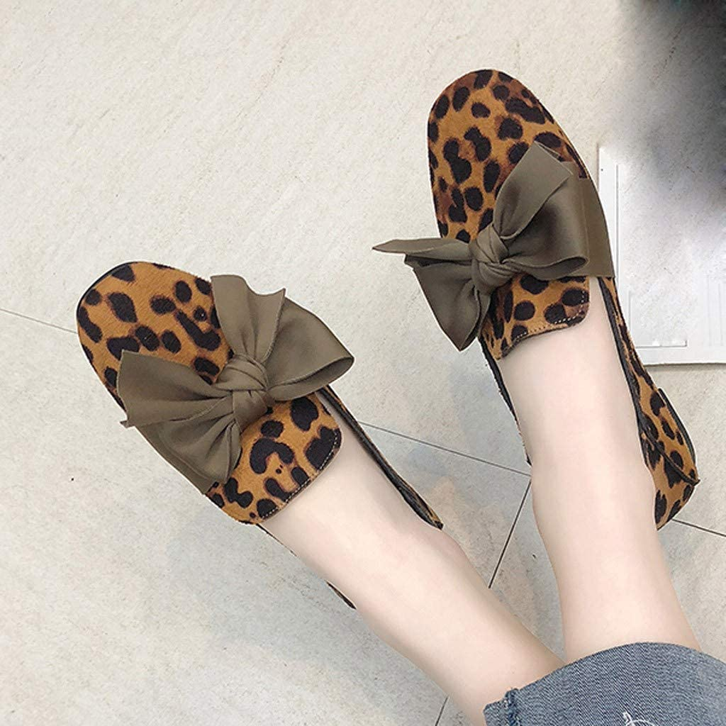 Dainzuy Womens Loafers Summer Bowknot Leopard Soft Casual Peas Shoes Slip On Flats Driving /& Walking Shoes