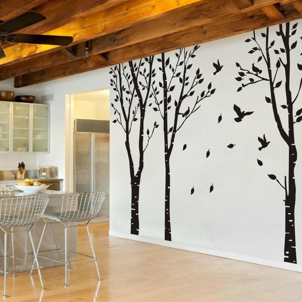 MairGwall Set of 3 Birch Trees with Flying Birds Wall Stickers - Beautiful Tree Wall Decal Vinyl Wall Art Decor for Nursery Kids Rooms Bedroom Living Room GECKOO