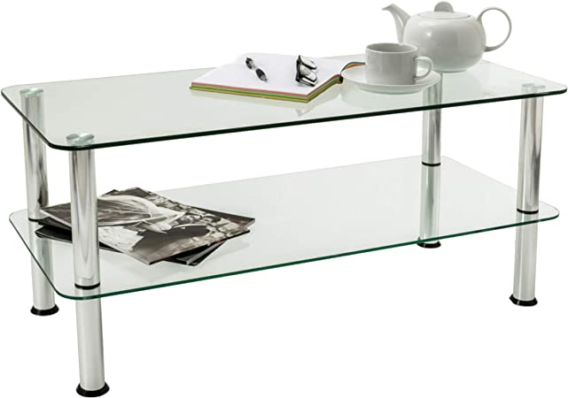 Mountright 2 Tier Glass Table Small Glass Coffee Table With Chrome Finished Legs Clear Safety Glass Side Table With Rounded Edges Amazon Co Uk Tv