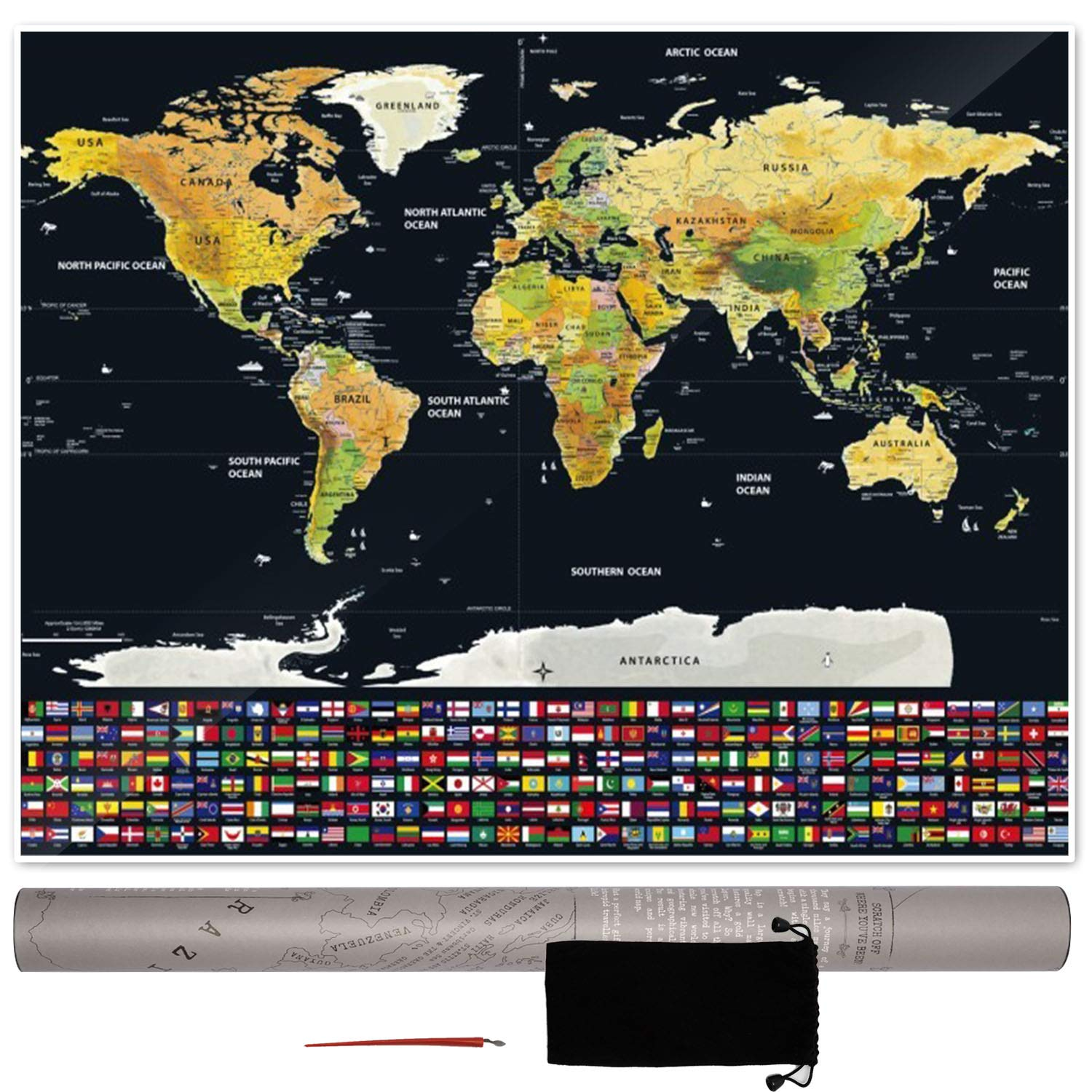 Extra Large Scratch Off Map of The World Poster by JöT - Appease Your Wanderlust with Our Premium Quality Scratchable Travel Tracker with Accessories - Perfect Gift for Kids, Travelers, Globetrotters