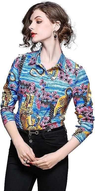 XZANTE Moda De Mujer Camisa De Solapa Con Estampado De ...
