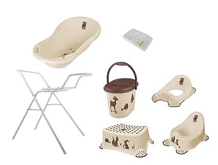 7 piezas Forest Beige bañera XXL 100 cm + bañera Soporte + Cacerola + WC accesorio