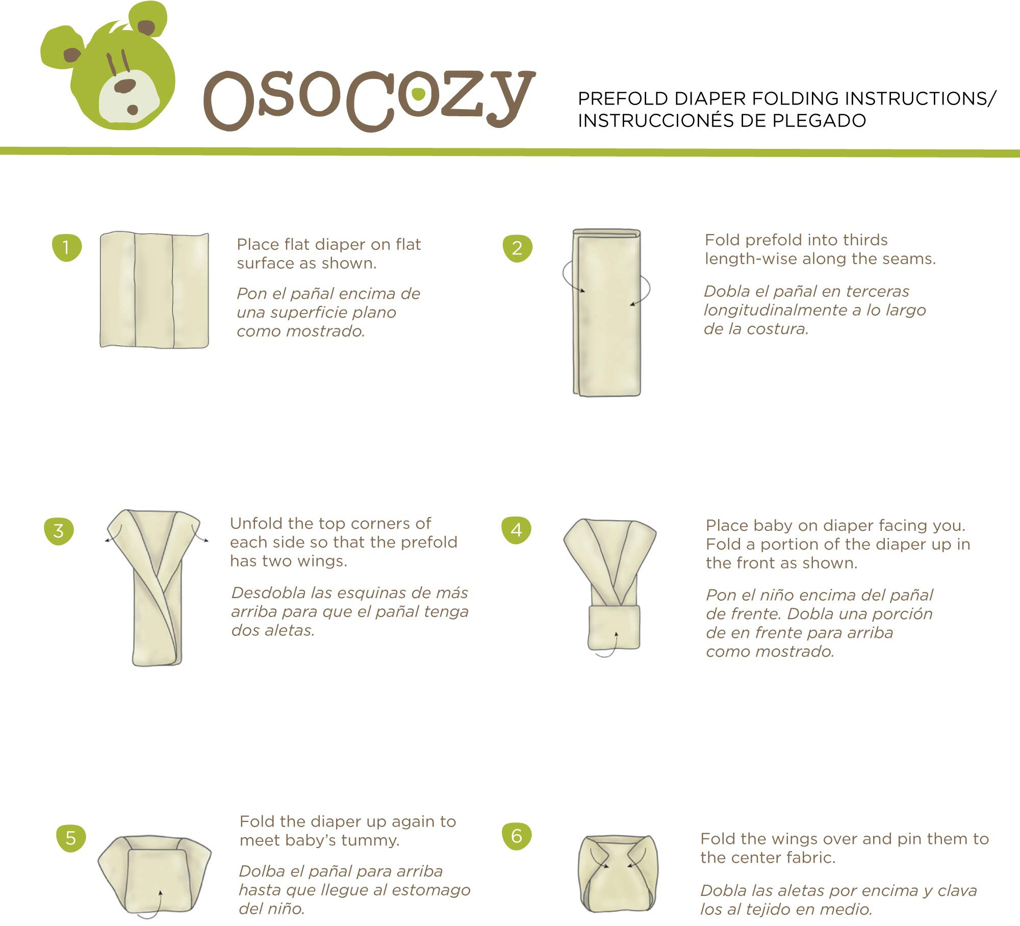 OsoCozy Unbleached Prefold Cloth Diapers – 12 Count, Premium - 4x8x4 (15-30 lbs)