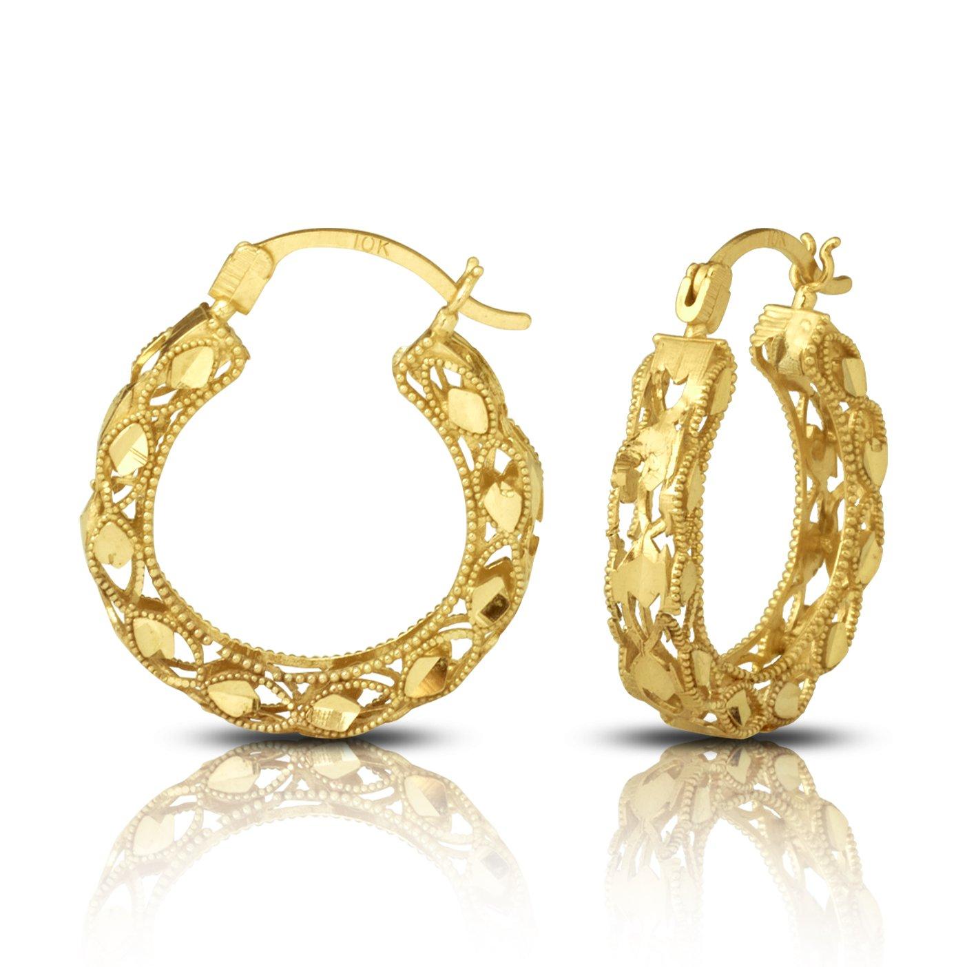 LoveBling 10K Yellow Gold 3.8mm Round Turkish Hoop Earrings (Diameter 0.80'', Width 0.15'')