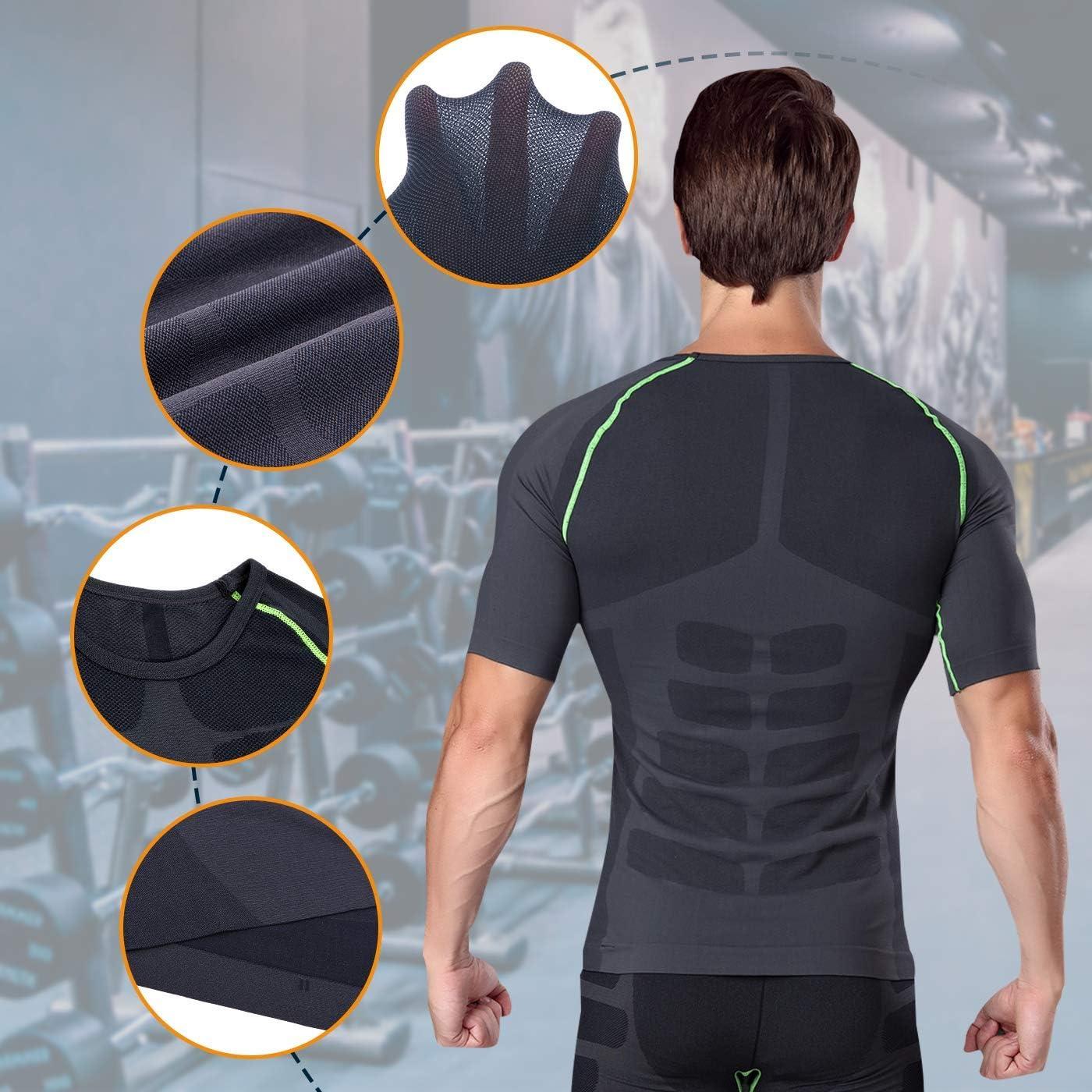 Bwiv Camiseta de Compresi/ón de Manga Corta Hombre Camisetas Deportivas para Hombres Secado R/ápido El/ástico Transpirable Running Ciclismo