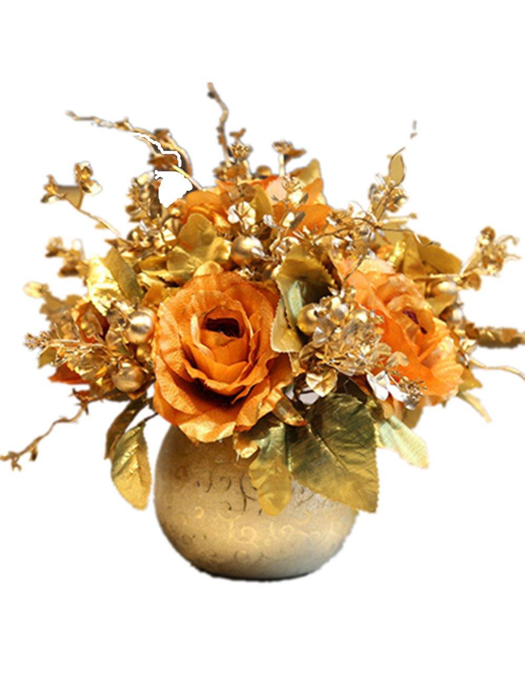CLヨーロピアンスタイルレトロシミュレーション人工フェイクシルクローズ椿牡丹花のセラミック花瓶の結婚式ホームリビングルームダイニングテーブルデスクPottedフローラルデコレーション S B07BBXMBZS カラー 9