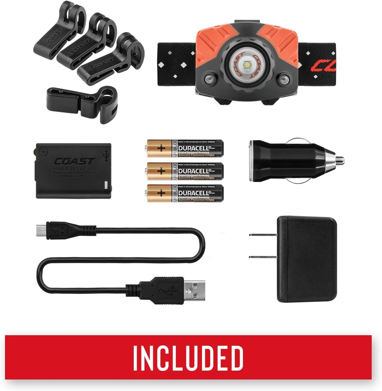 Rechargeable LED Headlamp FL60R 450 Lumen Accessories Included Dual Power