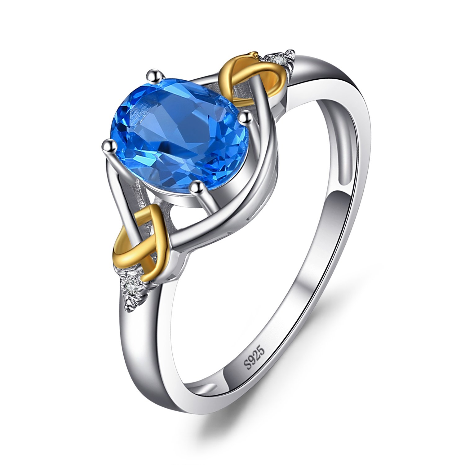 JewelryPalace Love Knot 1.5ct Natural Swiss Blue Topaz Diamond Accented Promise Ring 925 Sterling Silver 18K Yellow Gold Size 7 by JewelryPalace (Image #1)