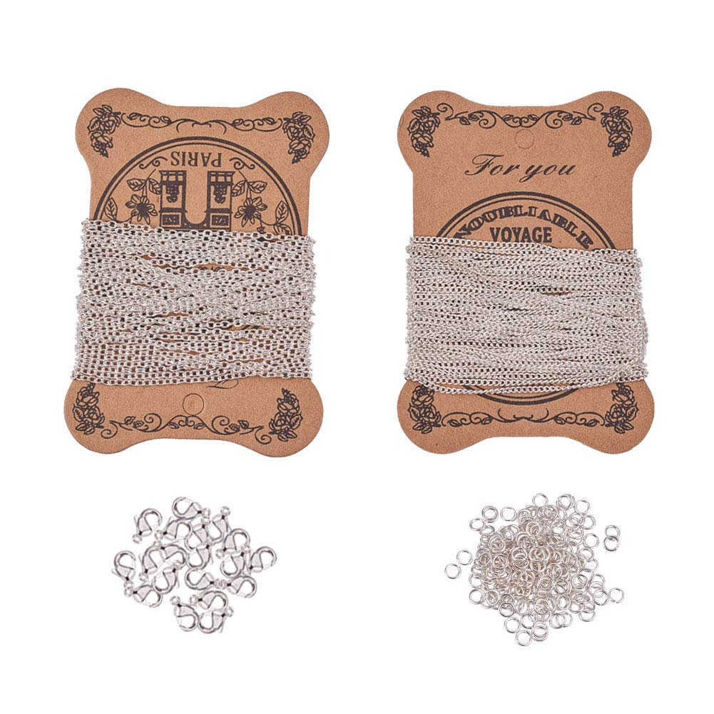 PandaHall Elite 2 Sheets 5m/sheet Iron Twisted Chains Curb Chains Necklaces with 100 Pcs 4mm Jump Rings and 20 Pcs Brass Lobster Claw Clasps for DIY Jewelry Making, Antique Bronze PH PandaHall