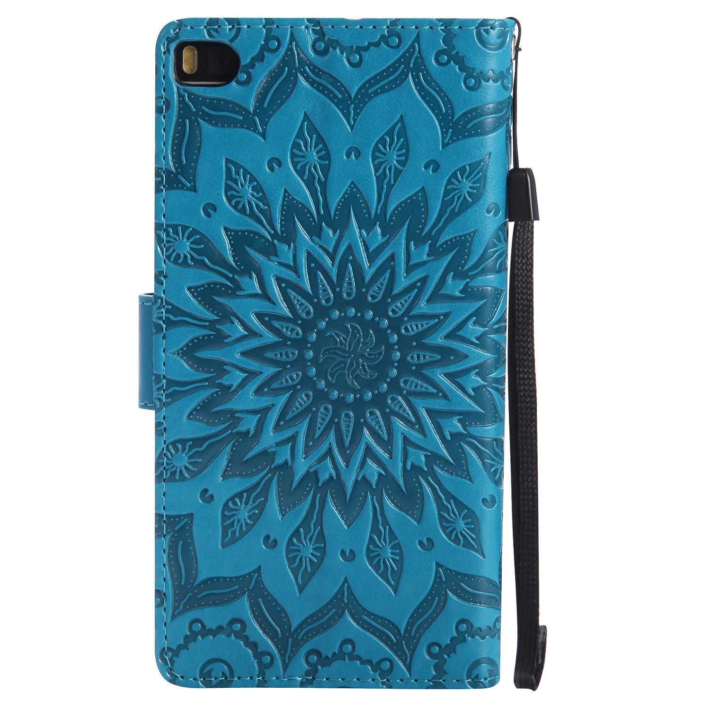 THRION Funda Huawei P8 Cuaderno Cuero PU Retro y Elegante Cubierta con Ranuras para Tarjetas y Cierre Magn/ético para Huawei P8 Azul