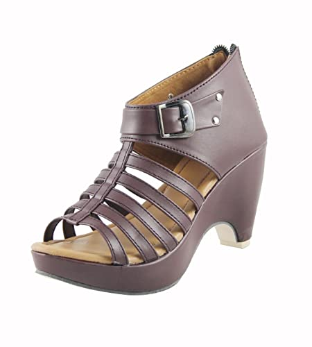 284f5a240d6 CUTE FASHION Women s Brown Fashion Sandals - 2 UK  Buy Online at Low ...