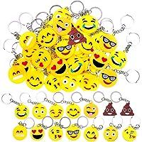 34 Mini Emoji Sleutelhangers,Emoji Sleutelhanger Emoticon Sleutelhanger voor Kinderen Verjaardagsfeestje Gunsten…