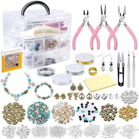 DIYARTS Fournitures de Fabrication de Bijoux Kit de R/éparation Bricolage /à la Main en Acrylique Perles avec des Pinces Coupantes Pince Fil de Perle de Rangement du Cordon de Cas A#