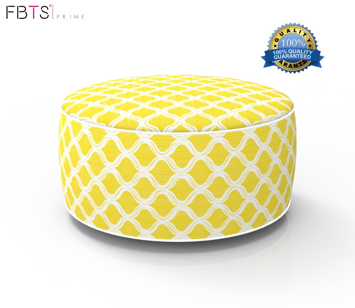FBTS Prime Outdoor Inflatable Ottoman Yellow Round Patio Foot Stools and Ottomans Suitable for Kids and Adults Portable Travel Footstool Used for Outdoor Camping Home Yoga Foot Rest