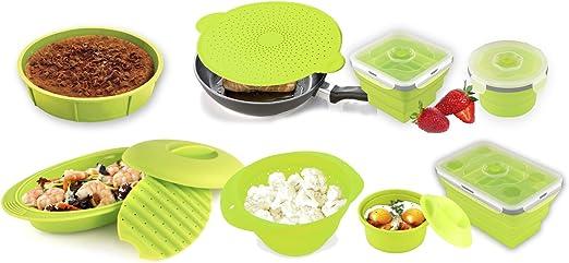 Colección Sivita de accesorios de cocina fabricados con silicona alimentaria: silicocotte, estuche a vapor o papilllote, escurridor/hervidor, molde redondo, tapa multifunción, 3 tuppers plegables: Amazon.es: Hogar