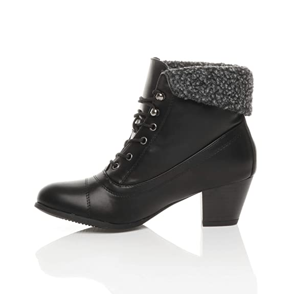 Ajvani Womens Ladies Mid Heel Lace up Vintage Fur Cuff Winter Pixie Ankle  Boots Size: Amazon.co.uk: Shoes & Bags