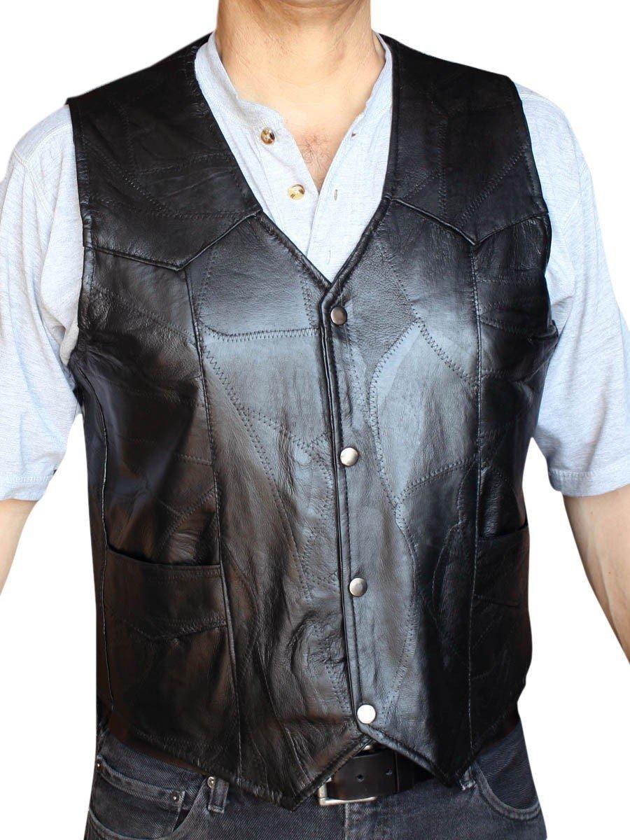 Men's Motorcycle Vest Genuine patchs Leather Black syle 950P_xxl