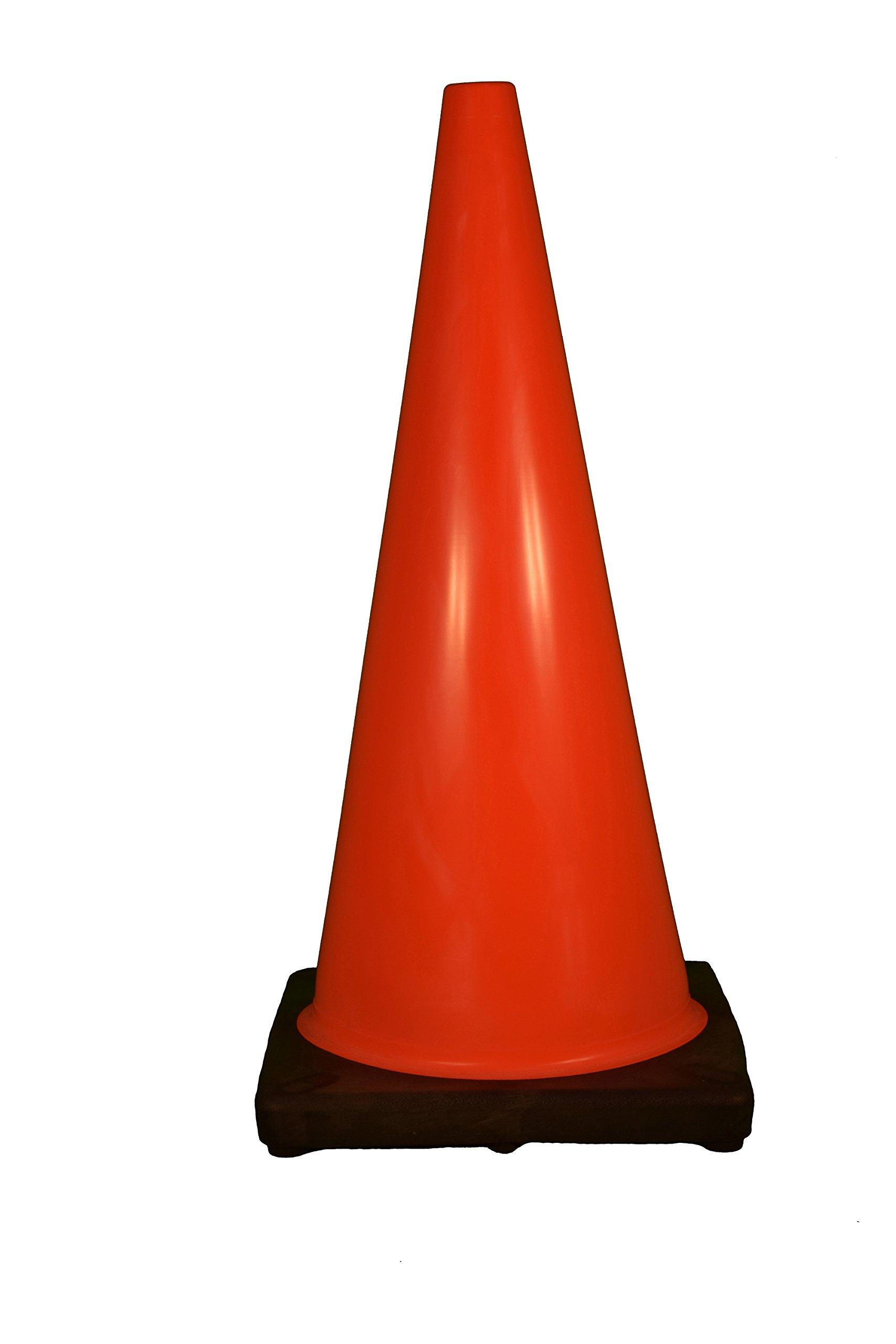 Cortina 03-500-07 Vinyl Traffic Cone with Black Base, 28'' Height, Red/Orange