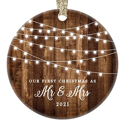 First Christmas Married Ornament 2021 Amazon Com Digibuddha 2021 First Christmas As Mr Mrs Ornament Rustic 1st Year Married Newlyweds 3 Flat Circle Porcelain Ceramic Ornament W Glossy Glaze Gold Ribbon Free Gift Box Or00300